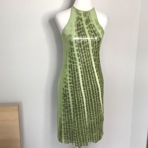 Vivianne Tam green metallic snake print dress